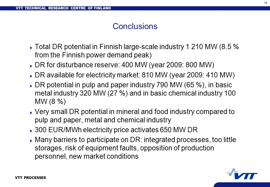 VTT TECHNICAL RESEARCH CENTRE OF FINLAND 18 VTT PROCESSES Conclusions t Total DR potential in Finnish large-scale industry 1 210 MW (8.5 % from the Finnish power demand peak) t DR for disturbance reserve: 400 MW (year 2009: 800 MW) t DR available for electricity market: 810 MW (year 2009: 410 MW) t DR potential in pulp and paper industry 790 MW (65 %), in basic metal industry 320 MW (27 %) and in basic chemical industry 100 MW (8 %) t Very small DR potential in mineral and food industry compared to pulp and paper, metal and chemical industry t 300 EUR/MWh electricity price activates 650 MW DR t Many barriers to participate on DR: integrated processes, too little storages, risk of equipment faults, opposition of production personnel, new market conditions