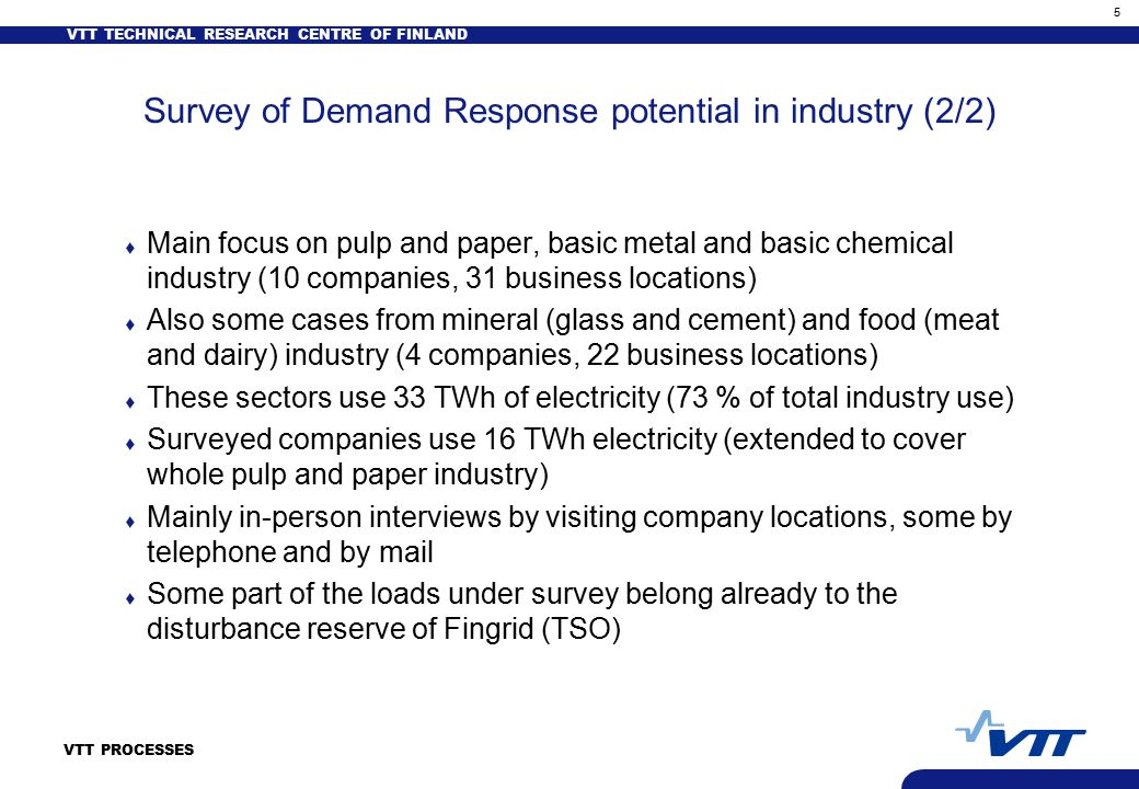 VTT TECHNICAL RESEARCH CENTRE OF FINLAND 5 VTT PROCESSES Survey of Demand Response potential in industry (2/2) t Main focus on pulp and paper, basic metal and basic chemical industry (10 companies, 31 business locations) t Also some cases from mineral (glass and cement) and food (meat and dairy) industry (4 companies, 22 business locations) t These sectors use 33 TWh of electricity (73 % of total industry use) t Surveyed companies use 16 TWh electricity (extended to cover whole pulp and paper industry) t Mainly in-person interviews by visiting company locations, some by telephone and by mail t Some part of the loads under survey belong already to the disturbance reserve of Fingrid (TSO)