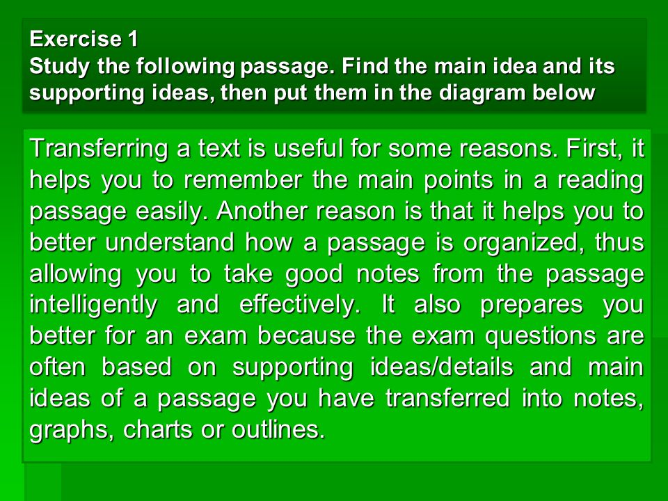 Exercise 1 Study the following passage. Find the main idea and its supporting ideas, then put them in the diagram below Transferring a text is useful