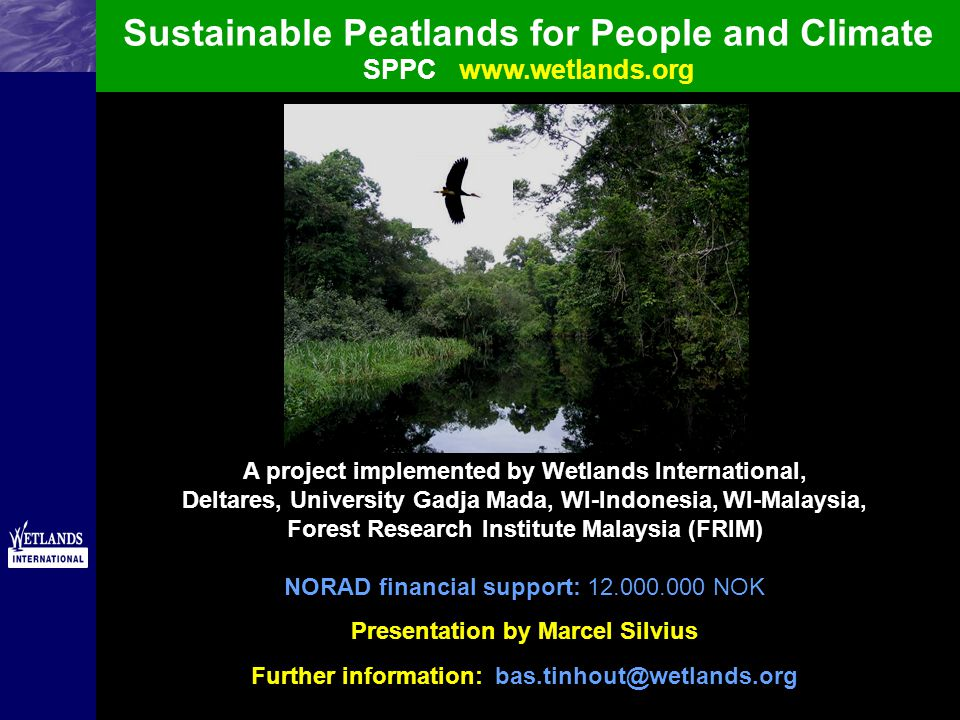 Sustainable Peatlands for People and Climate SPPCwww.wetlands.org A project implemented by Wetlands International, Deltares, University Gadja Mada, WI-Indonesia, WI-Malaysia, Forest Research Institute Malaysia (FRIM) NORAD financial support: 12.000.000 NOK Presentation by Marcel Silvius Further information: bas.tinhout@wetlands.org
