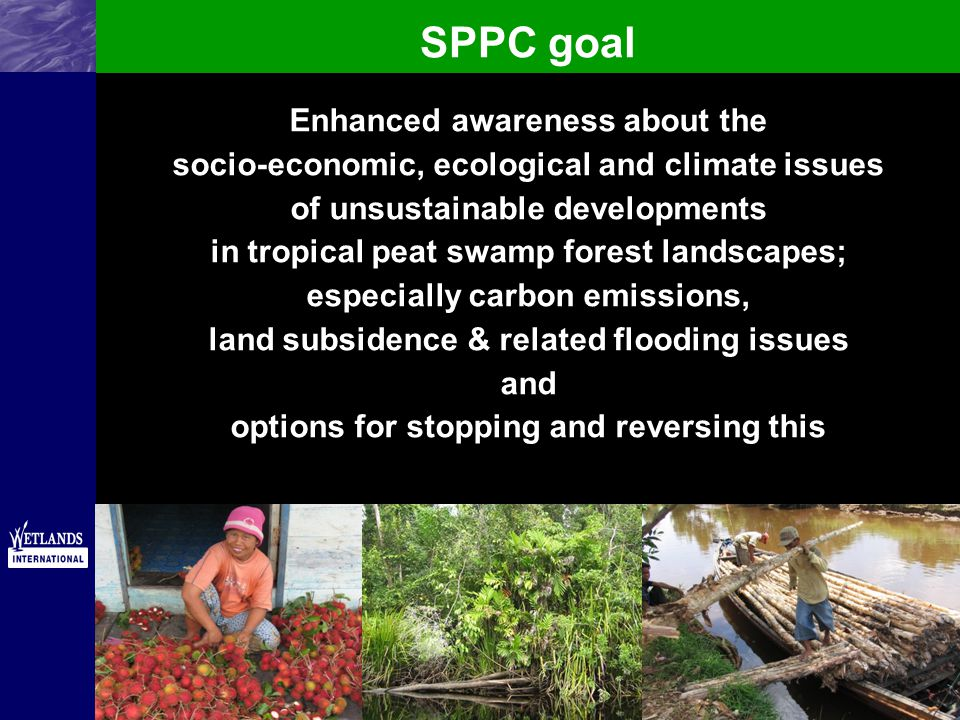 SPPC goal Enhanced awareness about the socio-economic, ecological and climate issues of unsustainable developments in tropical peat swamp forest landscapes; especially carbon emissions, land subsidence & related flooding issues and options for stopping and reversing this