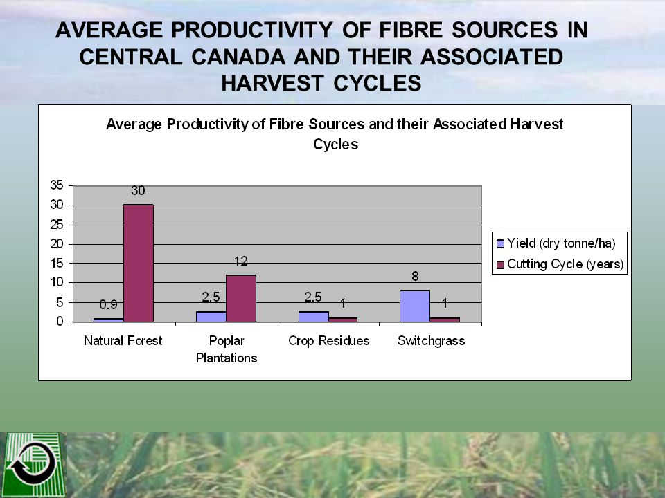 AVERAGE PRODUCTIVITY OF FIBRE SOURCES IN CENTRAL CANADA AND THEIR ASSOCIATED HARVEST CYCLES