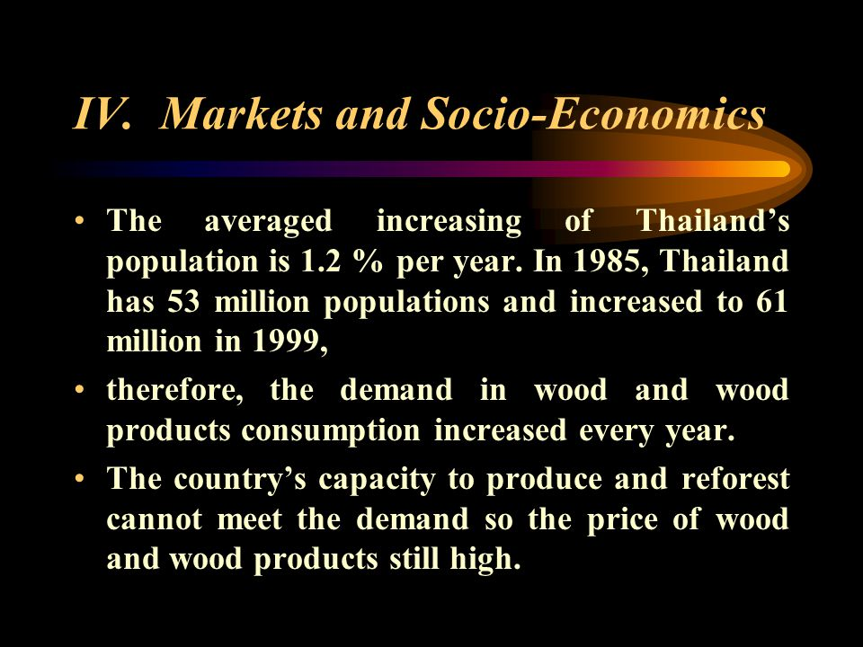 IV. Markets and Socio-Economics Wood consumption in Thailand is about 3-4 million cu.m./year.