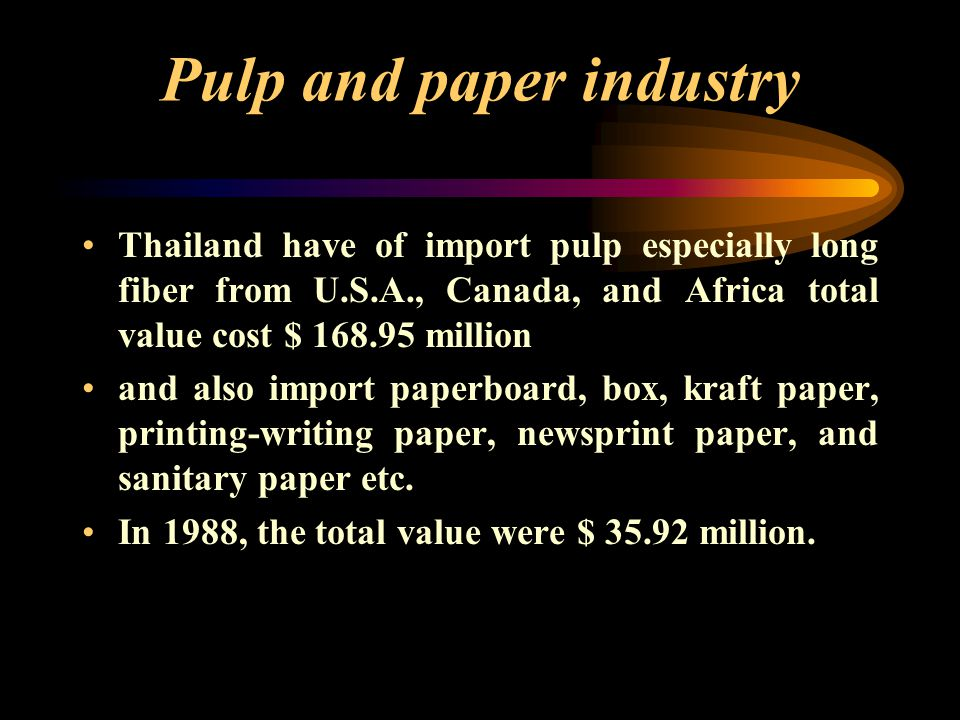 Pulp and paper industry 80 60 40 20 0 % The value of thailand's export pulp, paper, and paper products such as household and sanitary paper were $ 463.58 million, ASEAN (27 %) E.U.