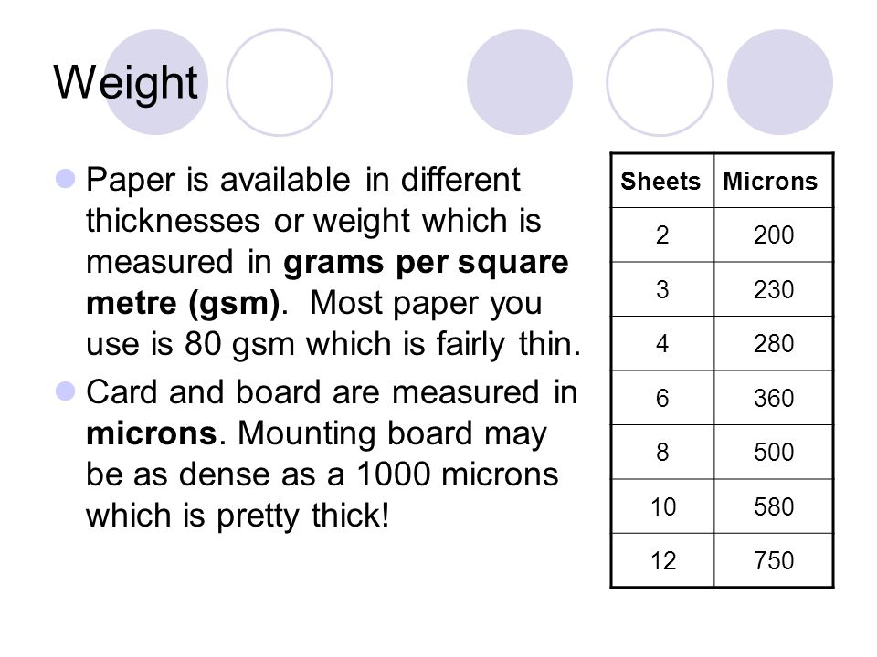 Weight Paper is available in different thicknesses or weight which is measured in grams per square metre (gsm). Most paper you use is 80 gsm which is