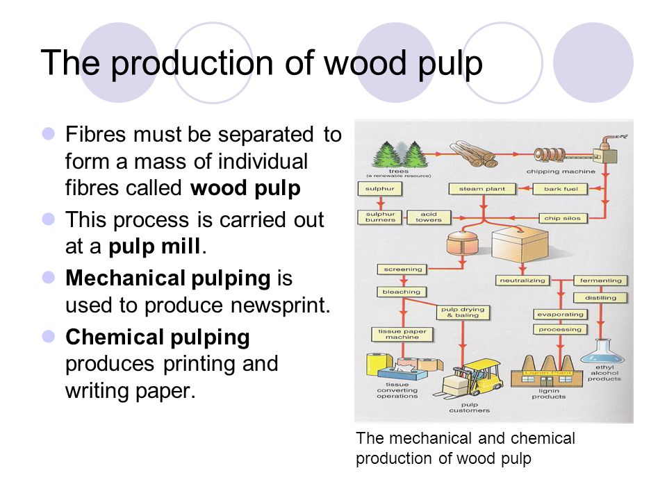 The production of wood pulp Fibres must be separated to form a mass of individual fibres called wood pulp This process is carried out at a pulp mill.