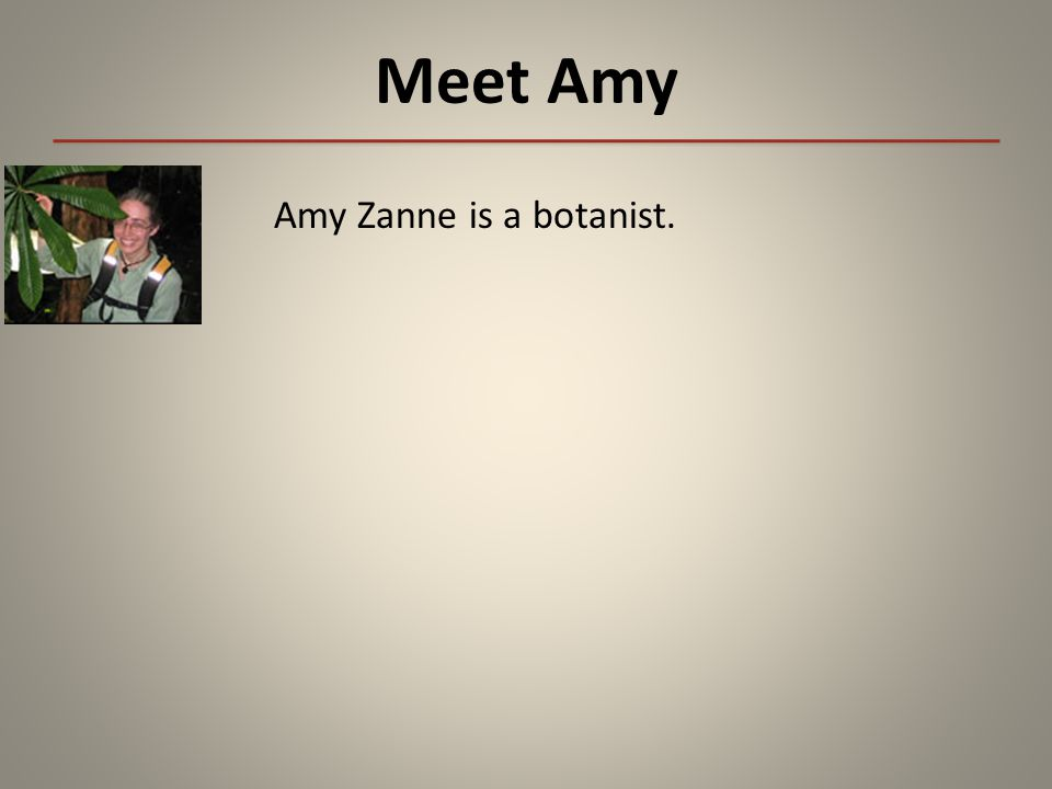 Meet Amy Amy Zanne is a botanist.