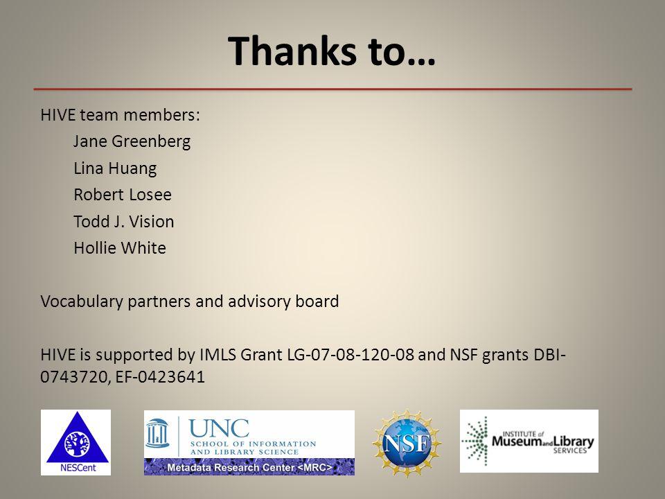 Thanks to… HIVE team members: Jane Greenberg Lina Huang Robert Losee Todd J.