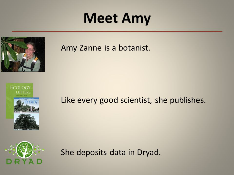 Meet Amy Amy Zanne is a botanist. Like every good scientist, she publishes. She deposits data in Dryad.