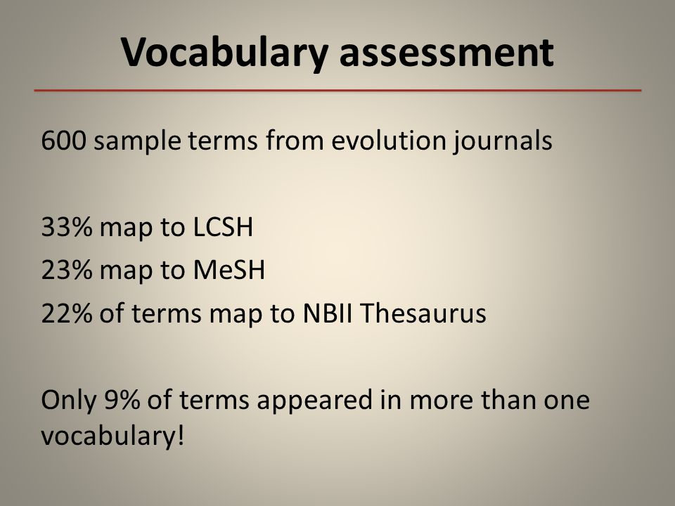 Vocabulary assessment 600 sample terms from evolution journals 33% map to LCSH 23% map to MeSH 22% of terms map to NBII Thesaurus Only 9% of terms appeared in more than one vocabulary!