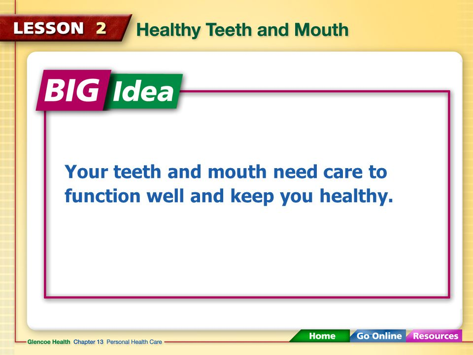 Healthy Teeth and Mouth (3:04) Click here to launch video Click here to download print activity