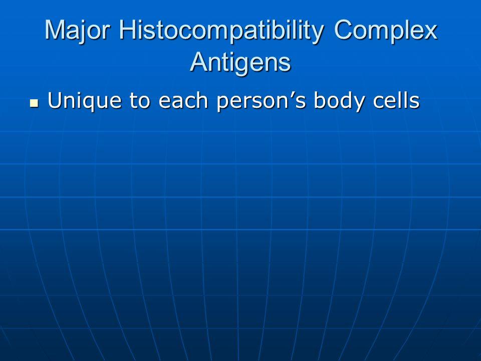 Major Histocompatibility Complex Antigens Unique to each person's body cells Unique to each person's body cells