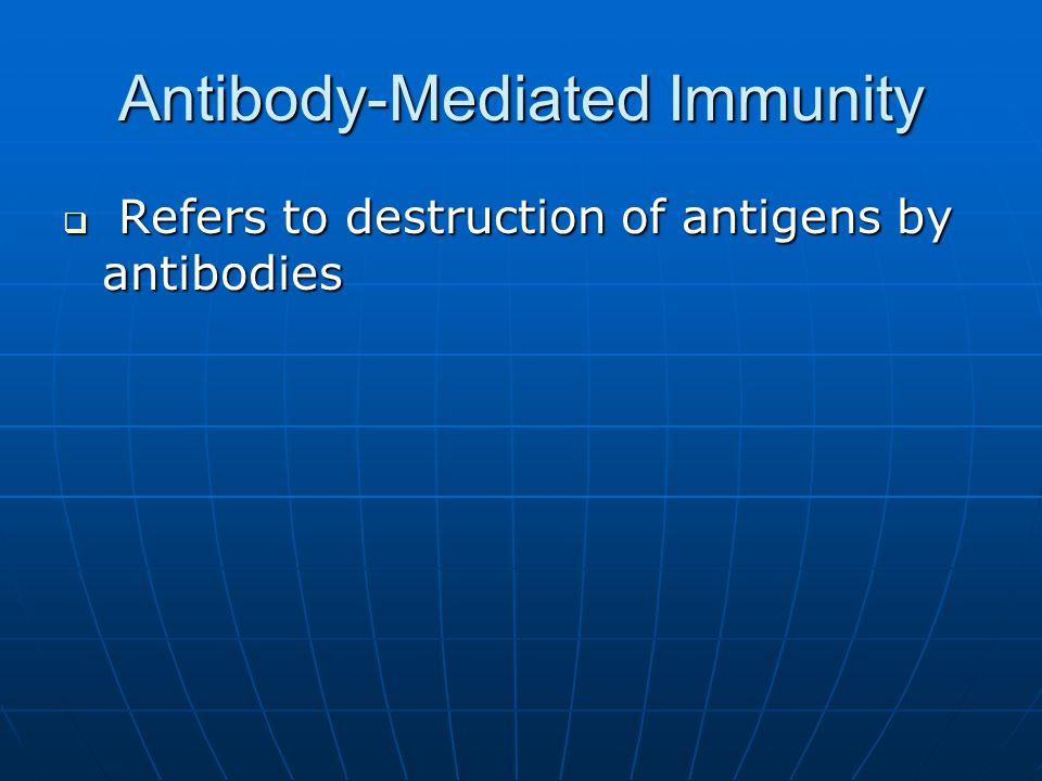 Antibody-Mediated Immunity  Refers to destruction of antigens by antibodies