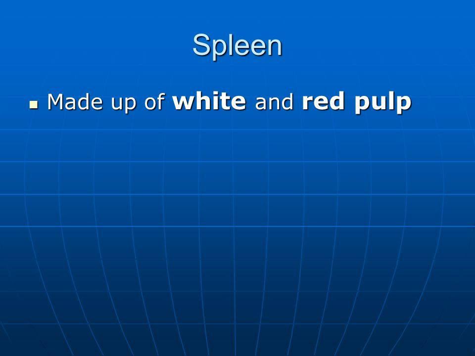Spleen Made up of white and red pulp Made up of white and red pulp