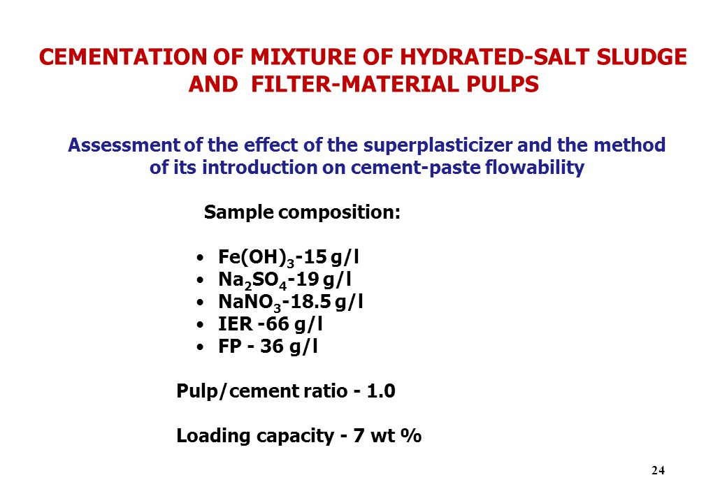 CEMENTATION OF MIXTURE OF HYDRATED-SALT SLUDGE AND FILTER-MATERIAL PULPS Assessment of the effect of the superplasticizer and the method of its introduction on cement-paste flowability Sample composition: Fe(OH) 3 -15 g/l Na 2 SO 4 -19 g/l NaNO 3 -18.5 g/l IER -66 g/l FP - 36 g/l Pulp/cement ratio - 1.0 Loading capacity - 7 wt % 24