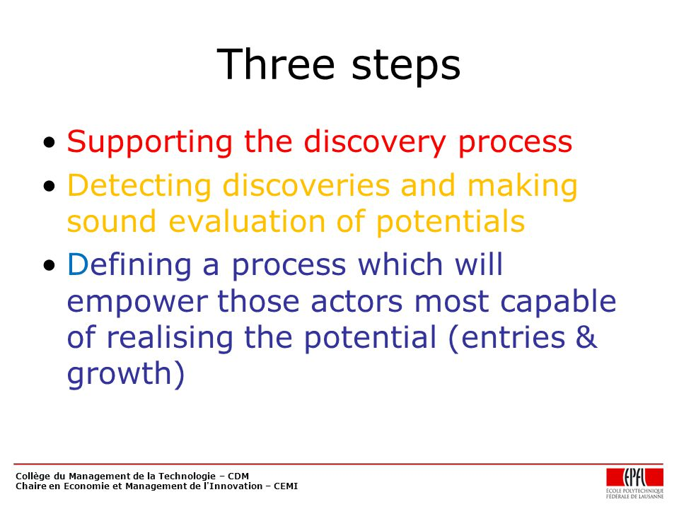 Three steps Supporting the discovery process Detecting discoveries and making sound evaluation of potentials Defining a process which will empower those actors most capable of realising the potential (entries & growth) Collège du Management de la Technologie – CDM Chaire en Economie et Management de l Innovation – CEMI