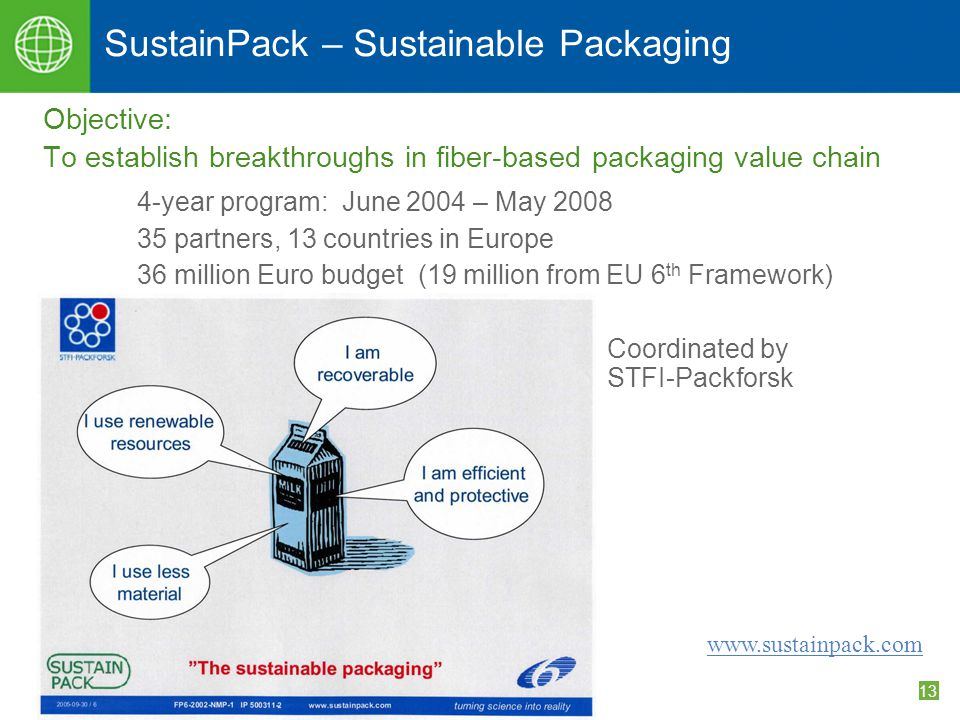 13 SustainPack – Sustainable Packaging Objective: To establish breakthroughs in fiber-based packaging value chain 4-year program: June 2004 – May 2008 35 partners, 13 countries in Europe 36 million Euro budget (19 million from EU 6 th Framework) Coordinated by STFI-Packforsk www.sustainpack.com