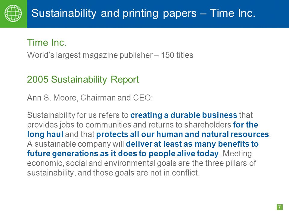 7 Sustainability and printing papers – Time Inc. Time Inc.