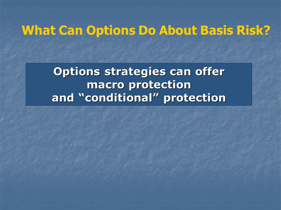 Options strategies can offer macro protection and conditional protection What Can Options Do About Basis Risk