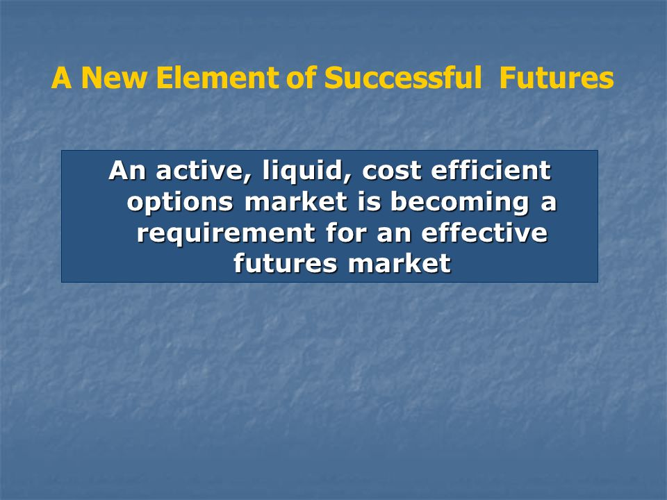 An active, liquid, cost efficient options market is becoming a requirement for an effective futures market A New Element of Successful Futures