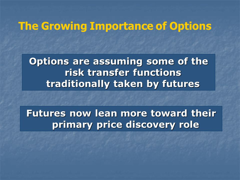 Options are assuming some of the risk transfer functions traditionally taken by futures The Growing Importance of Options Futures now lean more toward their primary price discovery role