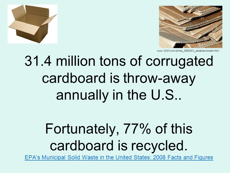 www.123rf.com/photo_3883001_cardboard-trash.html 31.4 million tons of corrugated cardboard is throw-away annually in the U.S..