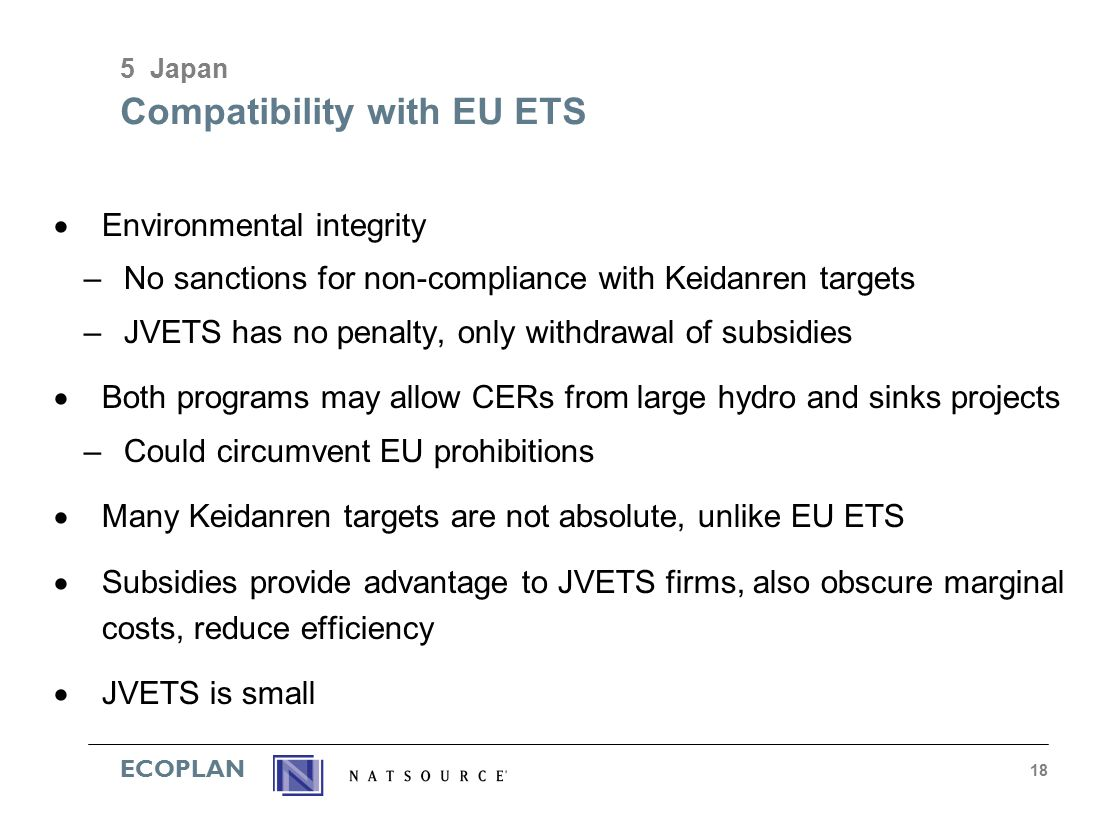 ECOPLAN 18 Compatibility with EU ETS  Environmental integrity –No sanctions for non-compliance with Keidanren targets –JVETS has no penalty, only withdrawal of subsidies  Both programs may allow CERs from large hydro and sinks projects –Could circumvent EU prohibitions  Many Keidanren targets are not absolute, unlike EU ETS  Subsidies provide advantage to JVETS firms, also obscure marginal costs, reduce efficiency  JVETS is small 5 Japan
