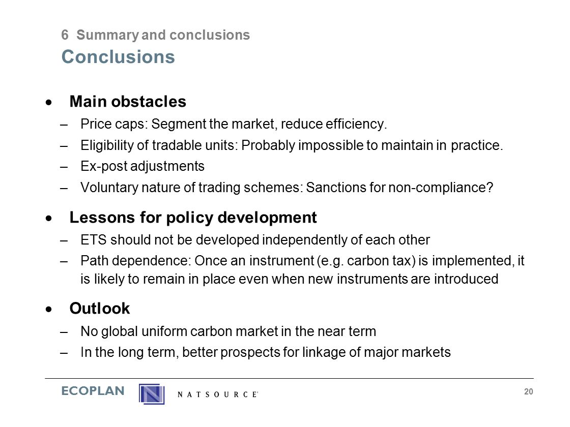 ECOPLAN 20 Conclusions  Main obstacles –Price caps: Segment the market, reduce efficiency.