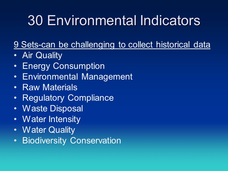 30 Environmental Indicators 9 Sets-can be challenging to collect historical data Air Quality Energy Consumption Environmental Management Raw Materials