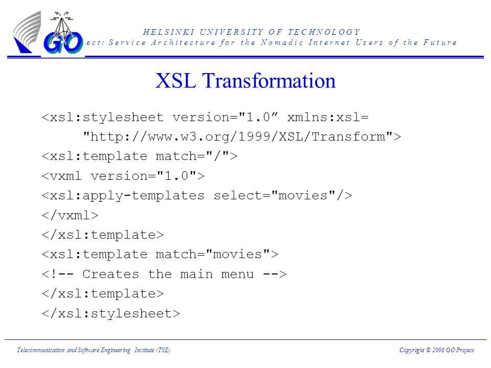 H E L S I N K I U N I V E R S I T Y O F T E C H N O L O G Y G O p r o j e c t : S e r v i c e A r c h i t e c t u r e f o r t h e N o m a d i c I n t e r n e t U s e r s o f t h e F u t u r e Copyright © 2000 GO ProjectTelecommunication and Software Engineering Institute (TSE) XSL Transformation <xsl:stylesheet version= 1.0 xmlns:xsl= http://www.w3.org/1999/XSL/Transform >