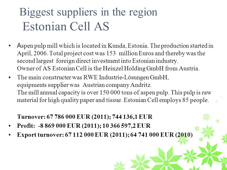Biggest suppliers in the region Estonian Cell AS A spen pulp mill which is located in Kunda, Estonia.