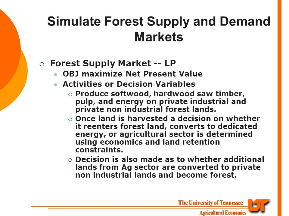 Simulate Forest Supply and Demand Markets  Forest Supply Market -- LP OBJ maximize Net Present Value Activities or Decision Variables  Produce softwood, hardwood saw timber, pulp, and energy on private industrial and private non industrial forest lands.