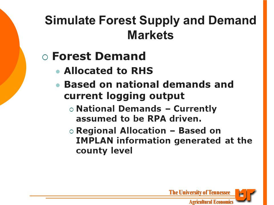 Simulate Forest Supply and Demand Markets  Forest Demand Allocated to RHS Based on national demands and current logging output  National Demands – Currently assumed to be RPA driven.