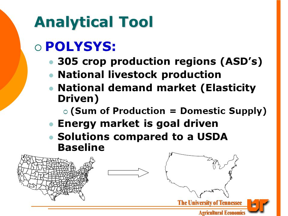 Analytical Tool  POLYSYS: 305 crop production regions (ASD's) National livestock production National demand market (Elasticity Driven)  (Sum of Production = Domestic Supply) Energy market is goal driven Solutions compared to a USDA Baseline