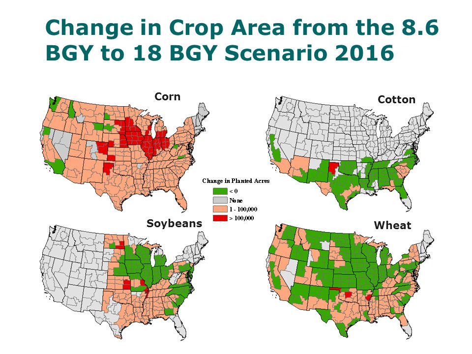 Change in Crop Area from the 8.6 BGY to 18 BGY Scenario 2016 Corn Soybeans Wheat Cotton