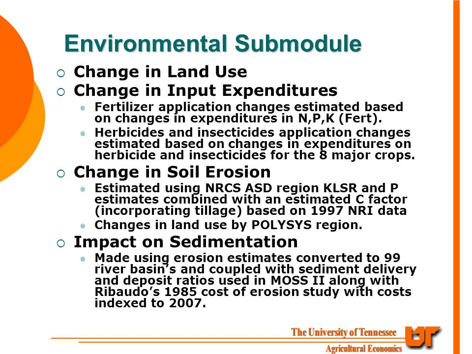 Environmental Submodule  Change in Land Use  Change in Input Expenditures Fertilizer application changes estimated based on changes in expenditures in N,P,K (Fert).