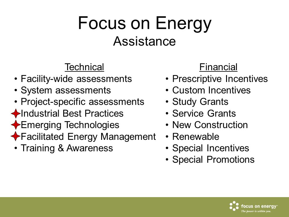 Technical Facility-wide assessments System assessments Project-specific assessments Industrial Best Practices Emerging Technologies Facilitated Energy