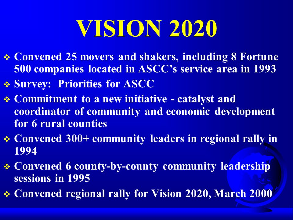 VISION 2020  Convened 25 movers and shakers, including 8 Fortune 500 companies located in ASCC's service area in 1993  Survey: Priorities for ASCC  Commitment to a new initiative - catalyst and coordinator of community and economic development for 6 rural counties  Convened 300+ community leaders in regional rally in 1994  Convened 6 county-by-county community leadership sessions in 1995  Convened regional rally for Vision 2020, March 2000