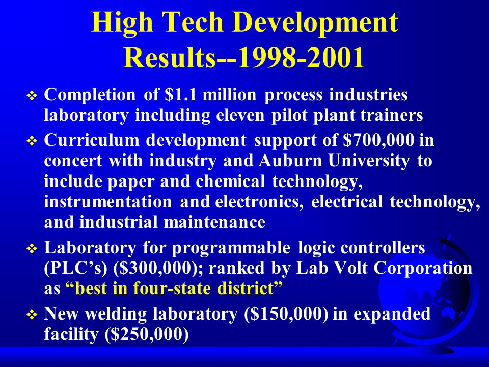 High Tech Development Results--1998-2001  Completion of $1.1 million process industries laboratory including eleven pilot plant trainers  Curriculum development support of $700,000 in concert with industry and Auburn University to include paper and chemical technology, instrumentation and electronics, electrical technology, and industrial maintenance  Laboratory for programmable logic controllers (PLC's) ($300,000); ranked by Lab Volt Corporation as best in four-state district  New welding laboratory ($150,000) in expanded facility ($250,000)
