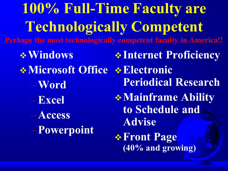 100% Full-Time Faculty are Technologically Competent Perhaps the most technologically competent faculty in America!.