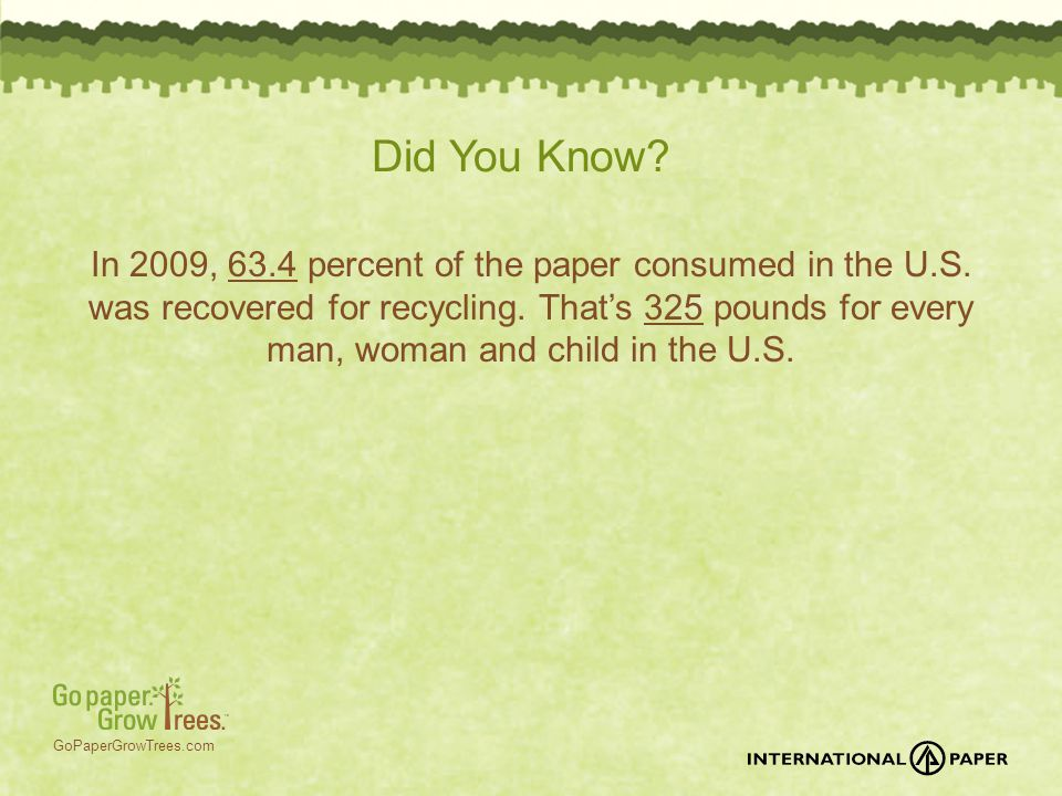 GoPaperGrowTrees.com Did You Know? In 2009, 63.4 percent of the paper consumed in the U.S. was recovered for recycling. That's 325 pounds for every ma