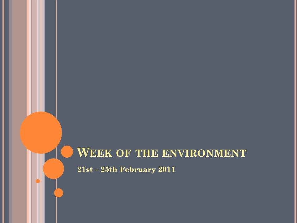 W EEK OF THE ENVIRONMENT 21st – 25th February 2011