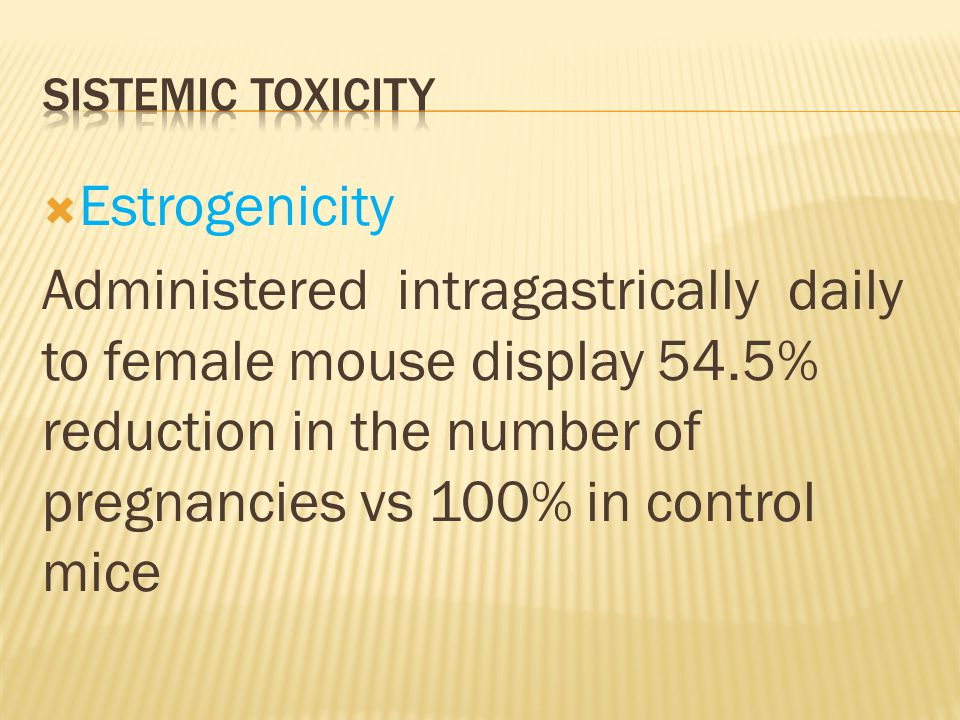  Estrogenicity Administered intragastrically daily to female mouse display 54.5% reduction in the number of pregnancies vs 100% in control mice