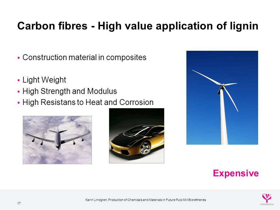 17 Carbon fibres - High value application of lignin  Construction material in composites  Light Weight  High Strength and Modulus  High Resistans