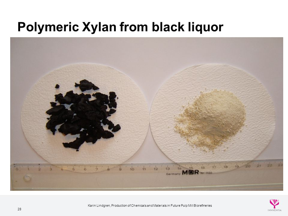 28 Polymeric Xylan from black liquor Karin Lindgren, Production of Chemicals and Materials in Future Pulp Mill Biorefineries