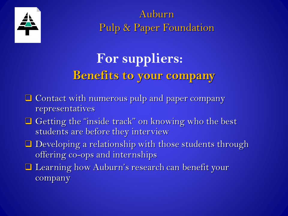 "Benefits to your company  Contact with numerous pulp and paper company representatives  Getting the ""inside track"" on knowing who the best students"