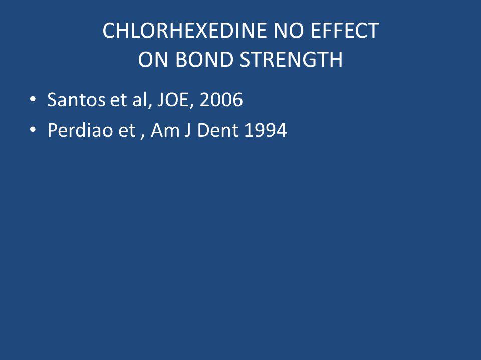 CHLORHEXEDINE NO EFFECT ON BOND STRENGTH Santos et al, JOE, 2006 Perdiao et, Am J Dent 1994