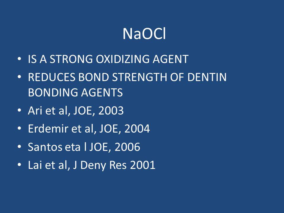 NaOCl IS A STRONG OXIDIZING AGENT REDUCES BOND STRENGTH OF DENTIN BONDING AGENTS Ari et al, JOE, 2003 Erdemir et al, JOE, 2004 Santos eta l JOE, 2006