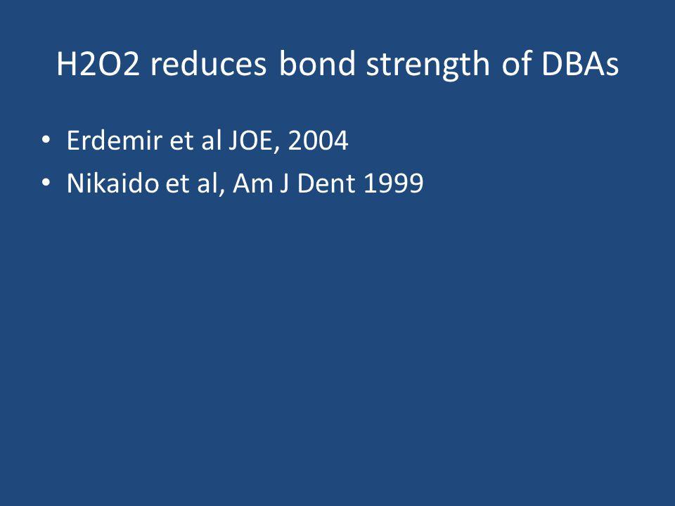 H2O2 reduces bond strength of DBAs Erdemir et al JOE, 2004 Nikaido et al, Am J Dent 1999