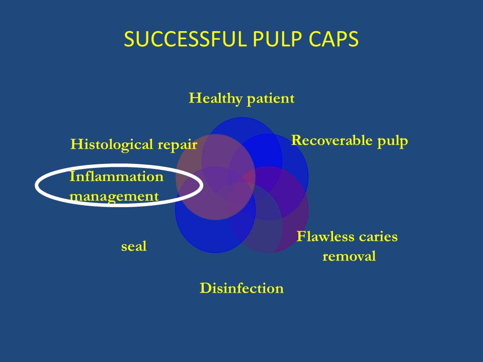 SUCCESSFUL PULP CAPS Healthy patient Recoverable pulp Flawless caries removal Disinfection seal Histological repair Inflammation management